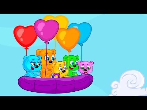 Learn colors together with Gummy bears. Flight in a boat on air balloons. Educational video for kids