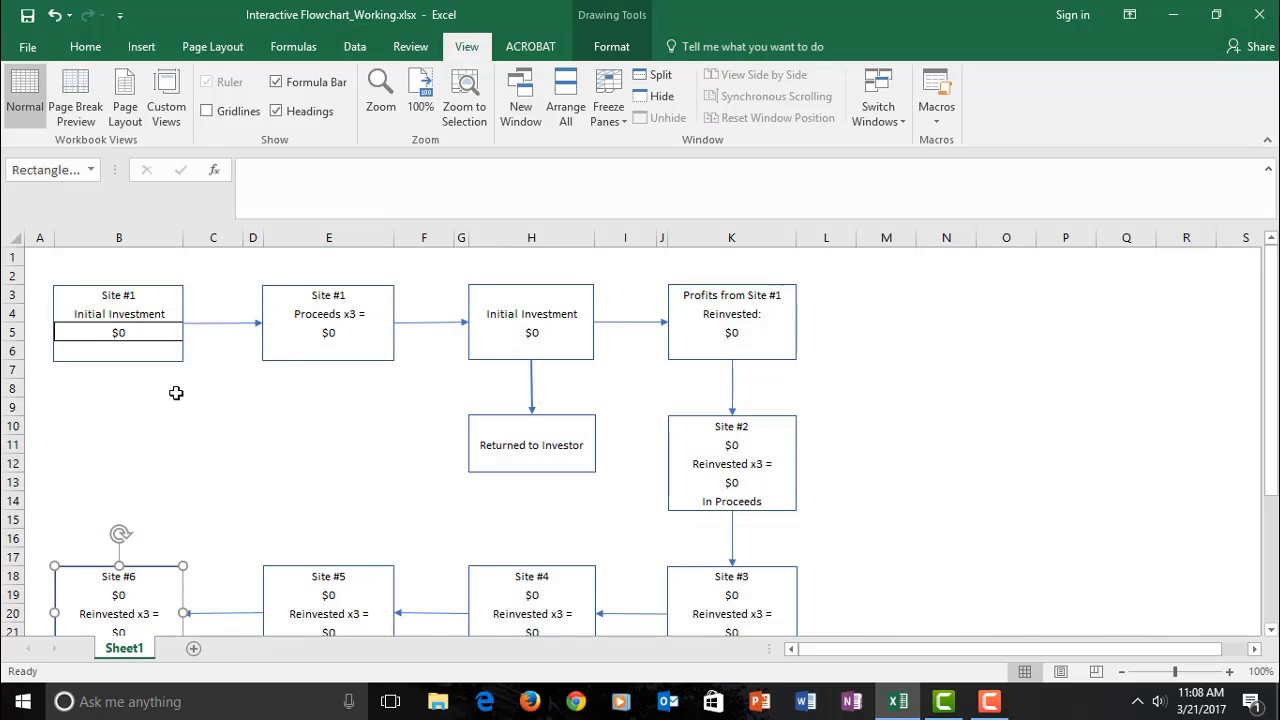 interactive excel flowchart youtube