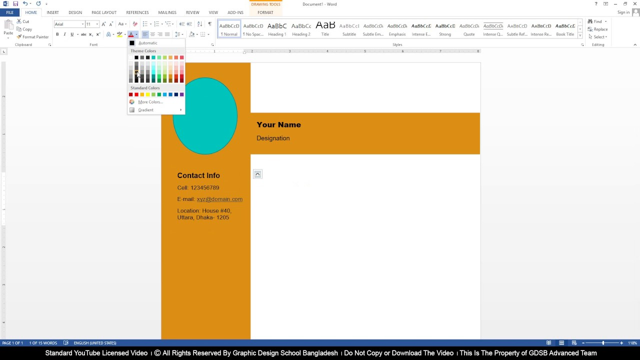 MS Word Class 6 CV Design Project