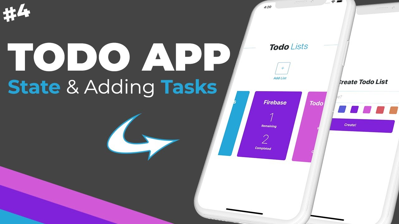 Updating State & Adding and Completing Tasks / React Native & Firebase Todo App / Part #4