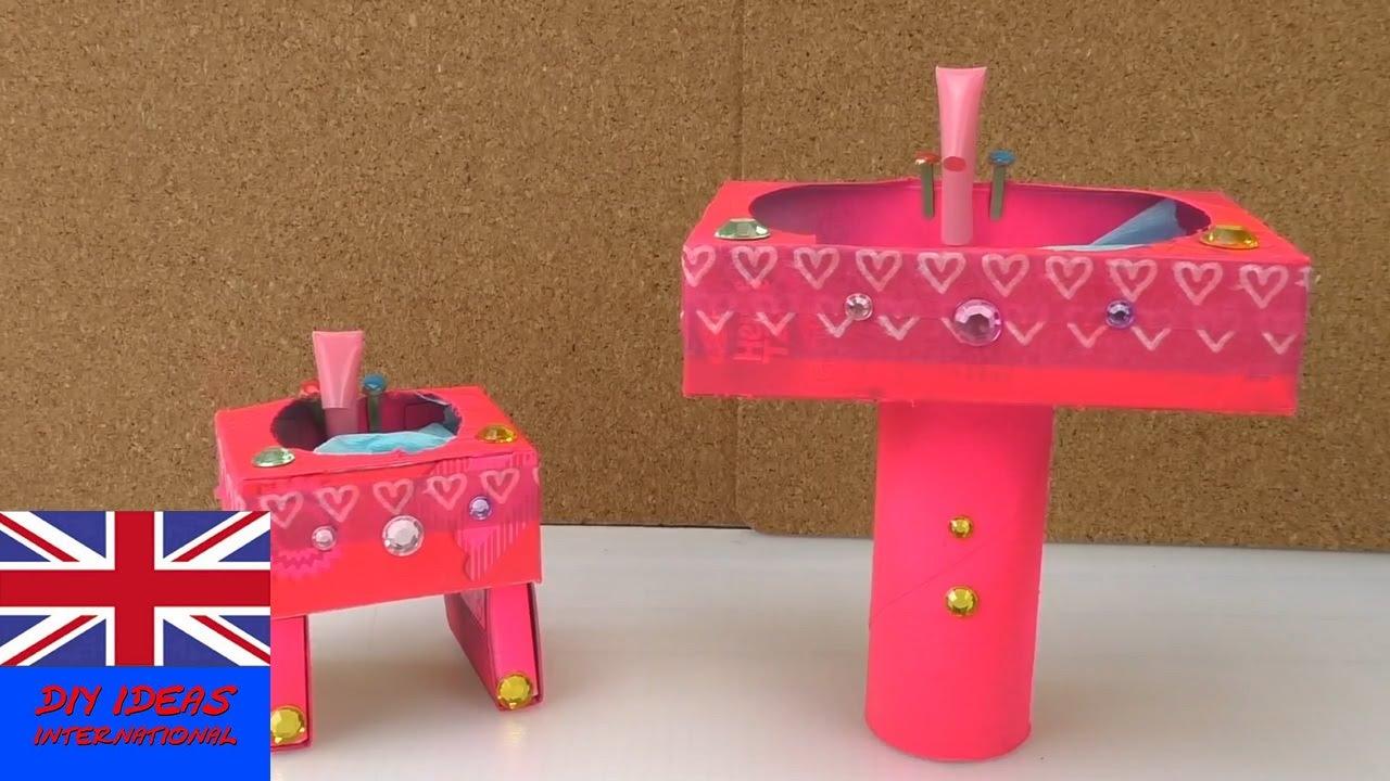 How To Make A Doll Bathroom Sink   Doll Crafts   Diy Doll Ideas   YouTube