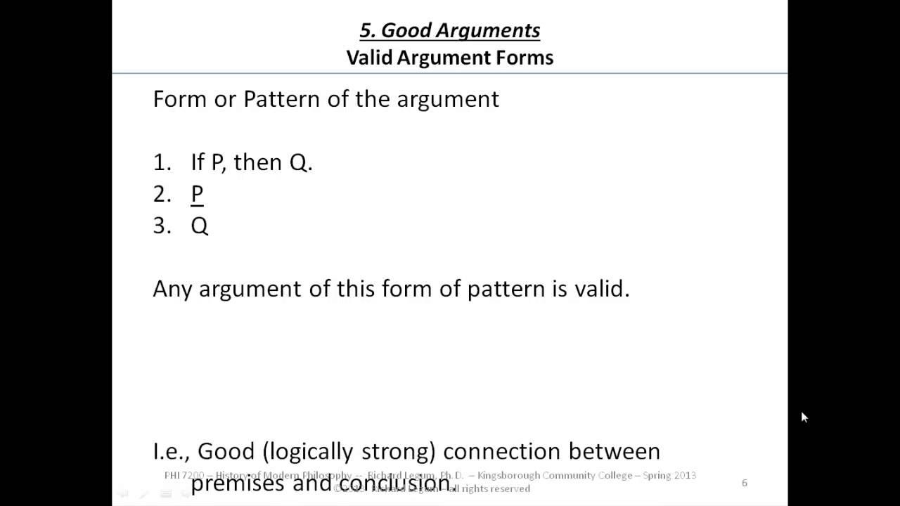 5.06 Good Arguments (Valid Argument Forms 1) - YouTube