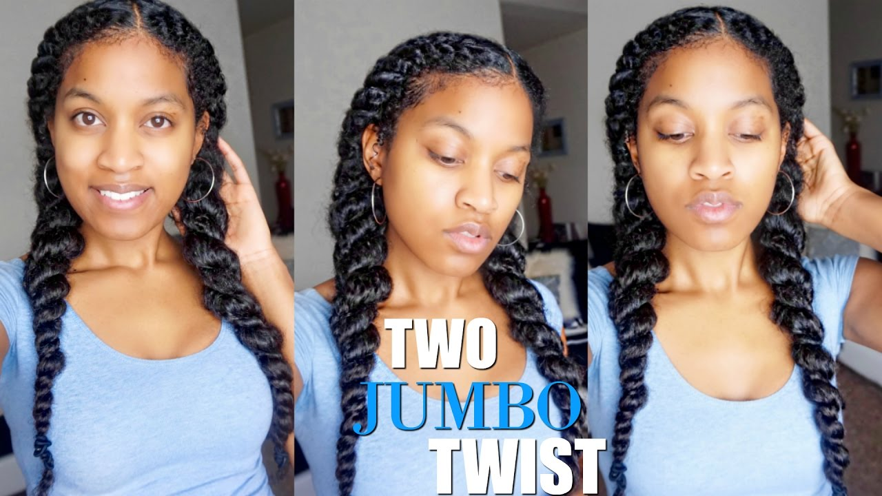 How To Jumbo Flat Twist Natural Hair Protective Style Youtube