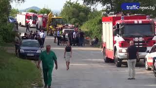 Огнеборец загина в обърнатата пожарна край Пловдив, има ранени
