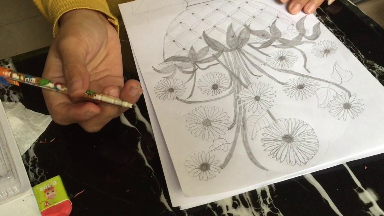 cách vẽ bình hoa hướng dương #4