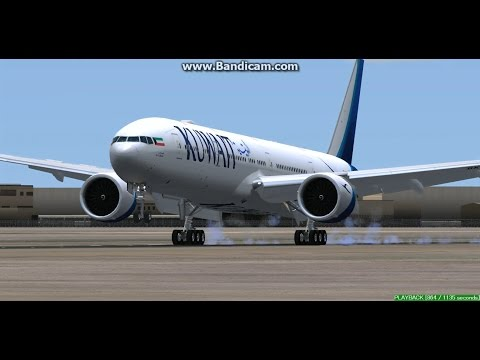 Kuwait Airways B777-300 Kuwait International Airport OKBK Landing FS9