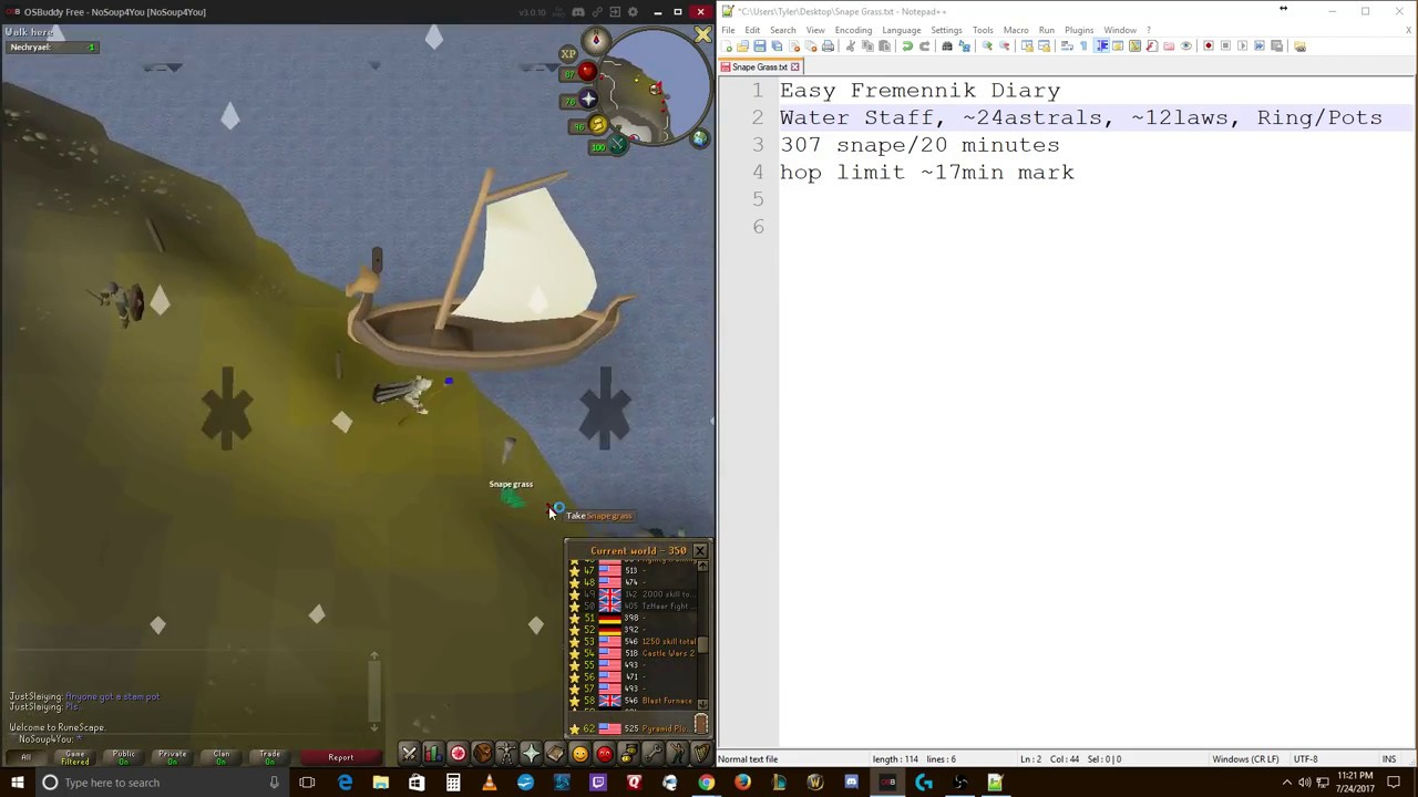 OSRS Ironman Guide to Getting Snape Grass | Grass/hr rate | Ironman Prayer  Potions