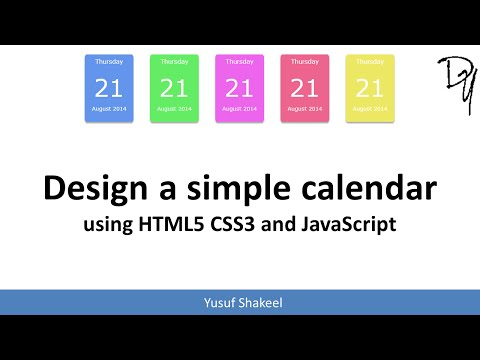 Design A Simple Calendar For Your Blog And Website Using HTML5 CSS3 And JavaScript