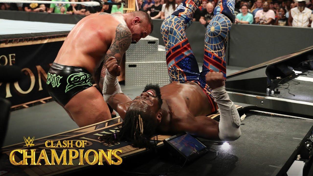 Randy Orton slams Kofi Kingston into the announce table: Clash of Champions  2019 - YouTube