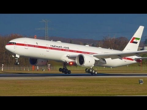 [FullHD] Abu Dhabi Amiri Boeing 777-300ER landing & takeoff at Geneva/GVA/LSGG