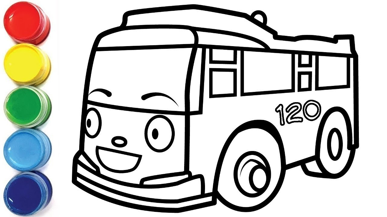 Coloring Tayo the Little Bus   drawing for toddlers and ...