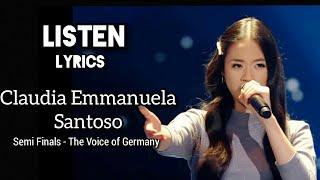 LISTEN - Beyoncé ( Claudia Emmanuela Santoso - Semi Finals The Voice of Germany) lirik lyrics