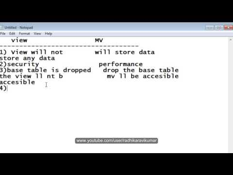 PL/SQL: Difference Between Views & MV