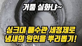 하수구 배수구 냄새 원인 잡는 싱크대 배수관 세정제(클…