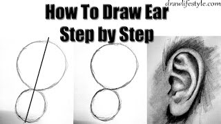 how to draw ears with pencil step by step