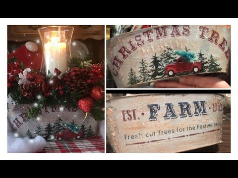 ~DOLLAR TREE CHRISTMAS DIY- Centerpiece - Farmhouse Christmas Decor ~