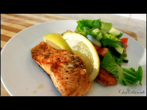 Pan Fried Salmon Salad For Summer [ Caribbean Summer Recipe ]