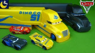 Disney Cars 3 Toys Dinoco Cruz Ramirez Jackson Storm Transforming Semi Hauler Playset McQueen Toys!