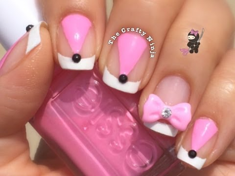Pink French Nail Striping Tape Tutorial by The Crafty Ninja