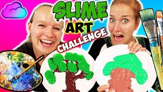 SLIME ART CHALLENGE Wer kann mit Schleim Gegenstände malen? DIY Schleim Kunstwerke Nina vs. Kathi