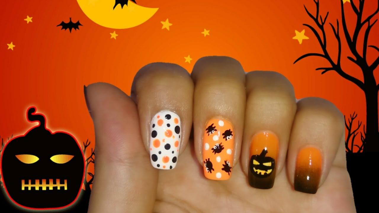 Decoracion de u as halloween calabaza pumpkin nail art - Decoracion calabazas para halloween ...