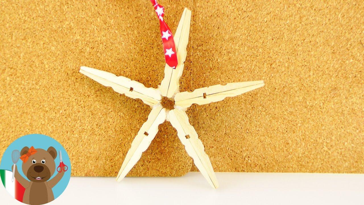 Lavoretti Di Natale Con Le Mollette Da Bucato.Decorazioni Di Natale Fai Da Te Stella Di Mollette Stella Di Legno Super Facile Fai Da Te