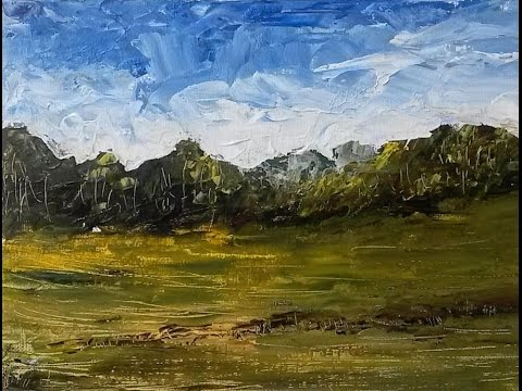 Cloudy Afternoon – Acrylic Landscape Painting (Palette Knife) Lesson.