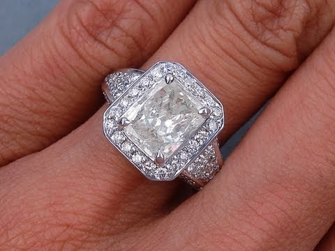 3.01 ctw Radiant Cut J I2 Diamond Engagement Ring - BigDiamondsUSA ...