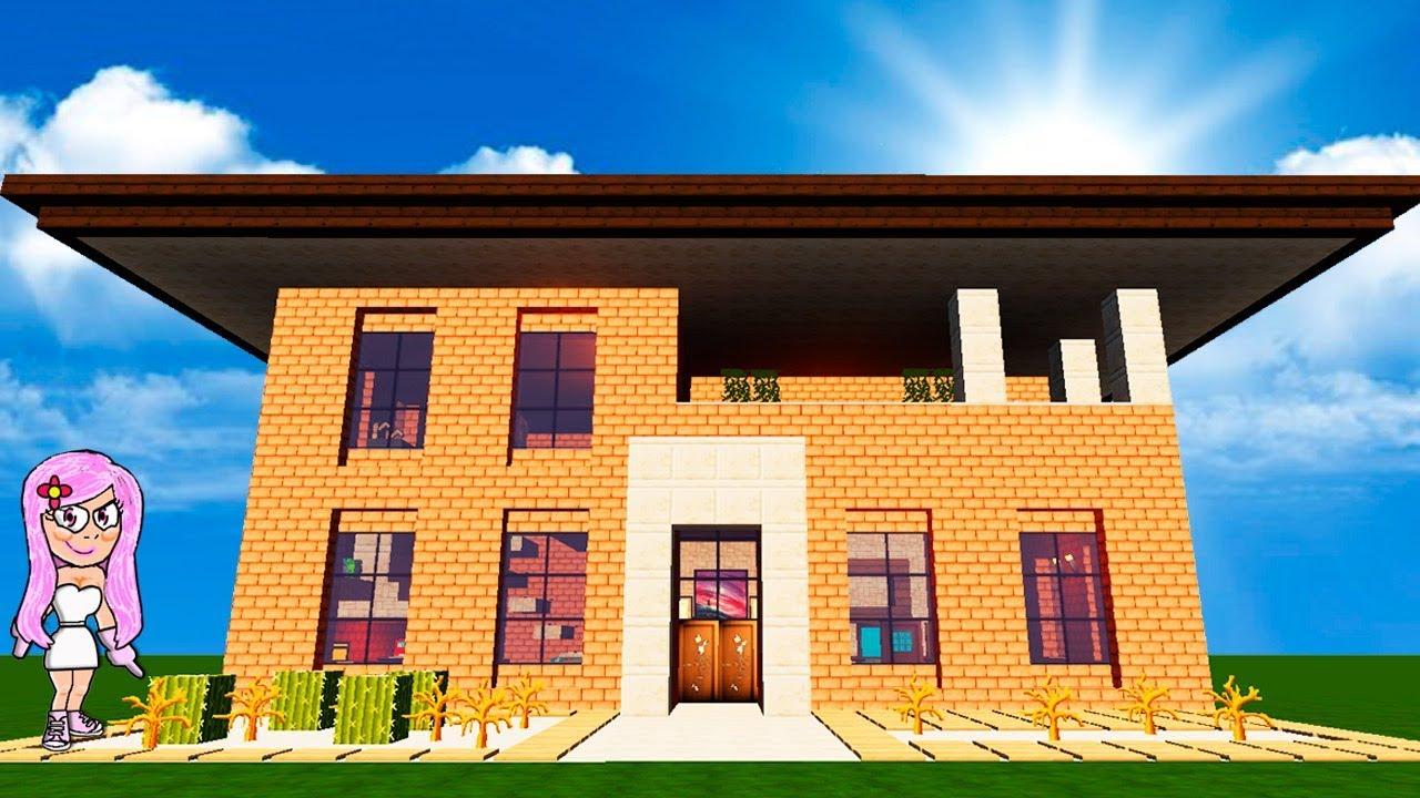 Casa de ladrillo moderna en minecraft c mo hacer y decorar for Casa moderna 9 mirote y blancana
