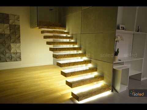 Stairs LED Lighting   Linear LED Lights In The Stairs   YouTube