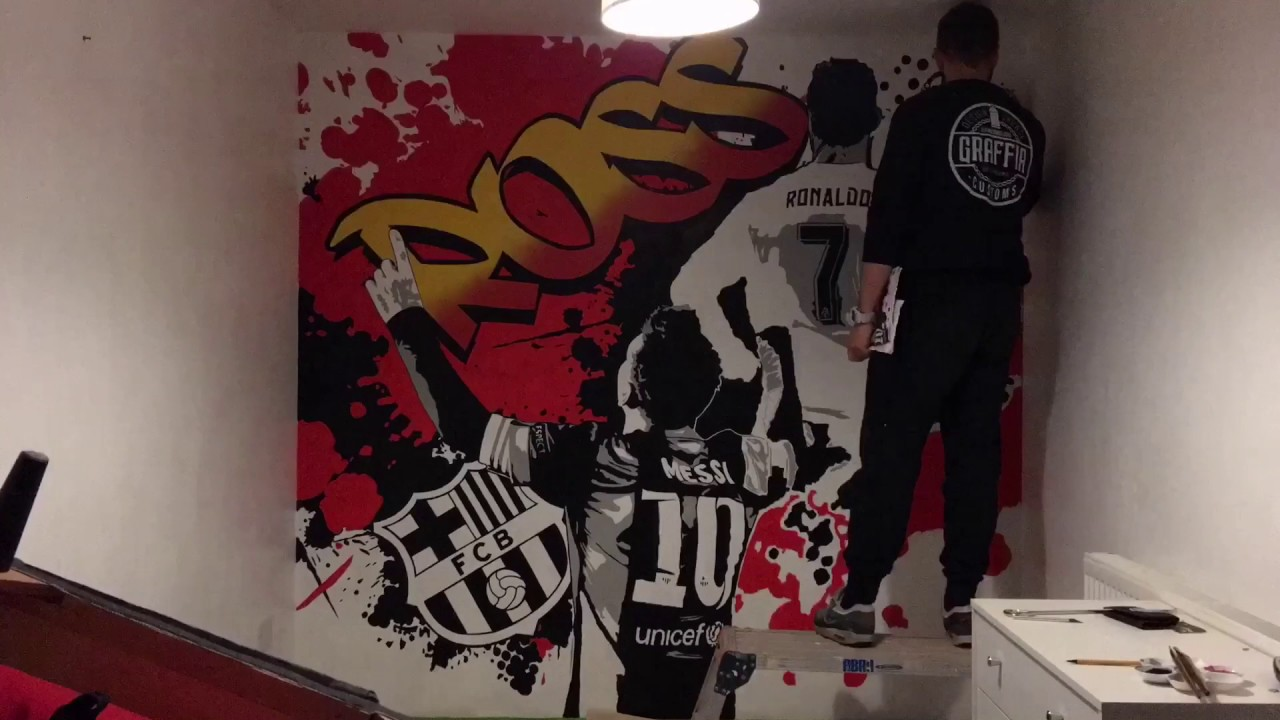 Ronaldo vs messi bedroom wall art graffiti time lapse youtube Painting graffiti on bedroom walls