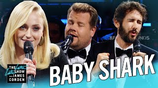 Download Video The Biggest 'Baby Shark' Ever w/ Sophie Turner & Josh Groban MP3 3GP MP4
