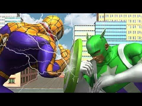 Spider Hero vs Captain PK Superhero Crime City USA