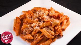 Red Sauce Pasta Recipe - Mushroom Pasta In Creamy Tomato sauce With Indian Twist - Sharmilazkitchen