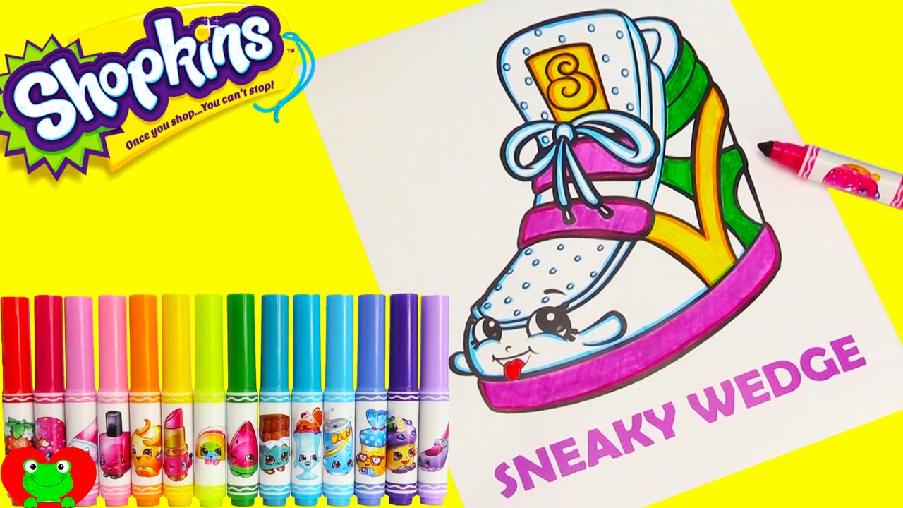 shopkins sneaky wedge coloring page with crayola markers and