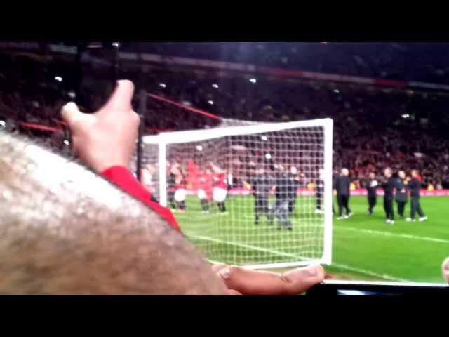 Man Utd V Villa -  Champions final whistle and celebrations