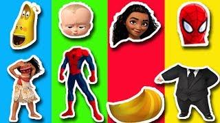 Wrong Heads Spiderman Moana Boss Baby Larva Finger Family Song Nursery Rhymes for Kids