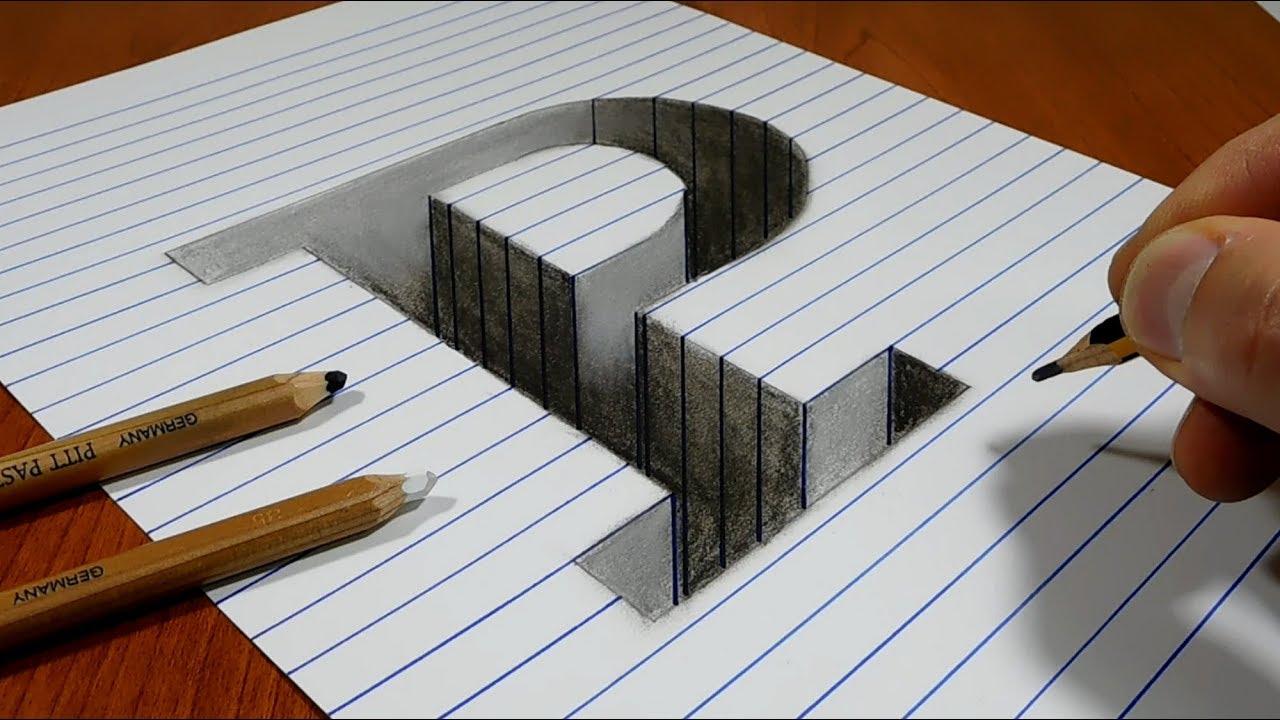 Draw a letter p hole on line paper 3d trick art