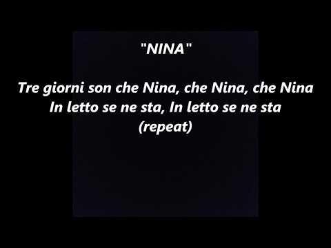 NINA LYRICS WORDS SING ALONG SONGS not Ed Sheeran Italian opera aria Pergolesi TRE GIORNI SON