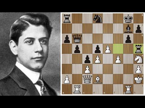 Хосе Рауль Капабланка жертвой КОНЯ и ЛАДЬИ завершает АТАКУ на короля! Шахматы.