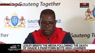 Gauteng Education MEC Panyaza Lesufi Briefs the Media