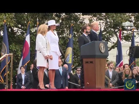 Trumps Greets French President Macron And His Wife At White House - Full Event