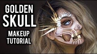 GOLDEN GLAM HALF SKULL | HALLOWEEN COSTUME MAKEUP TUTORIAL