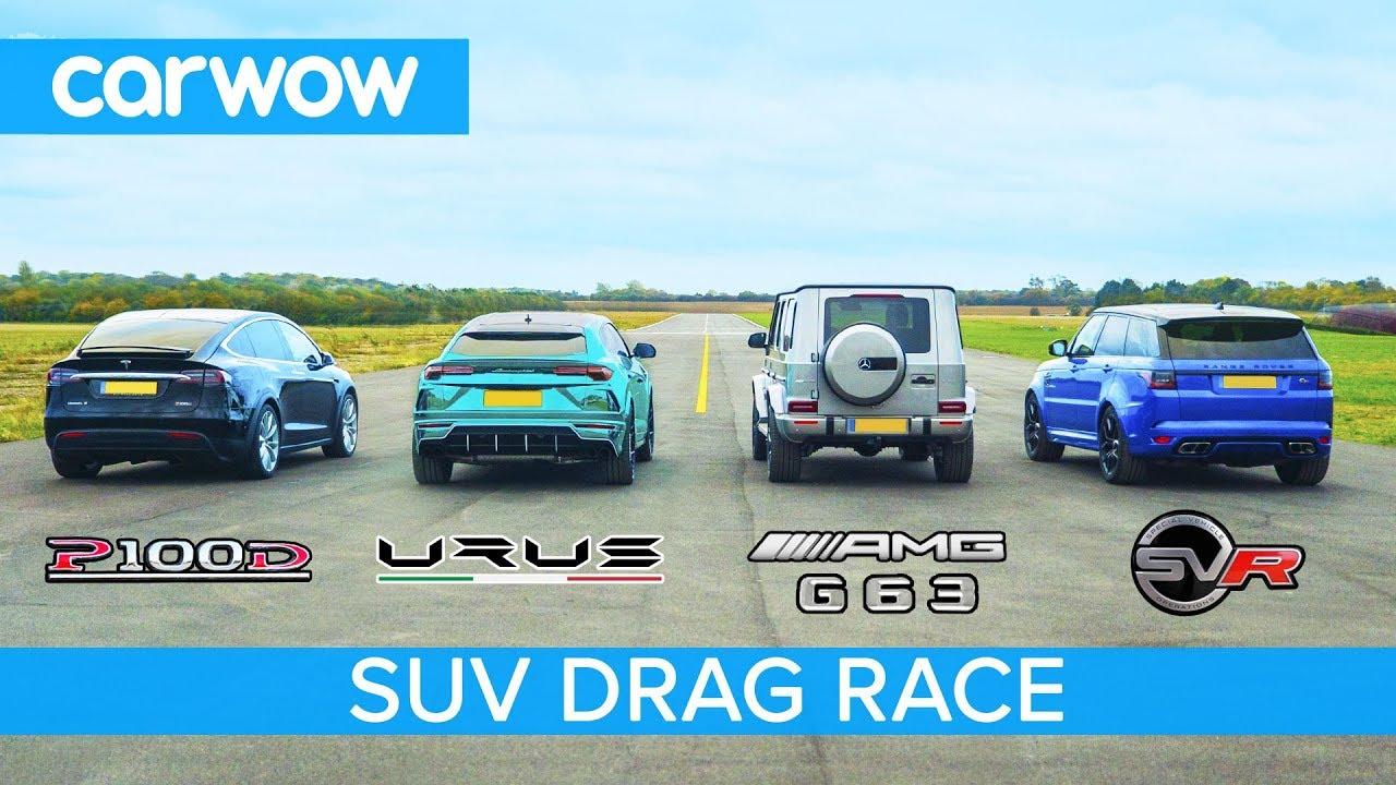 Lamborghini Urus v Tesla Model X v Mercedes-AMG G63 v Range Rover Sport SVR - DRAG & ROLLING RAC