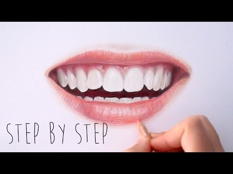 Step by Step | How to draw color realistic lips and teeth wi