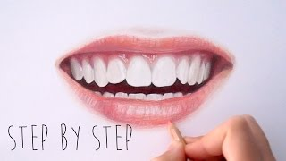 Step by Step | How to draw color realistic lips and teeth with colored pencils | Emmy Kalia