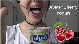 ASMR Eating Show: CHERRY YOGURT 🍒 || Alpro Soy Yogurt
