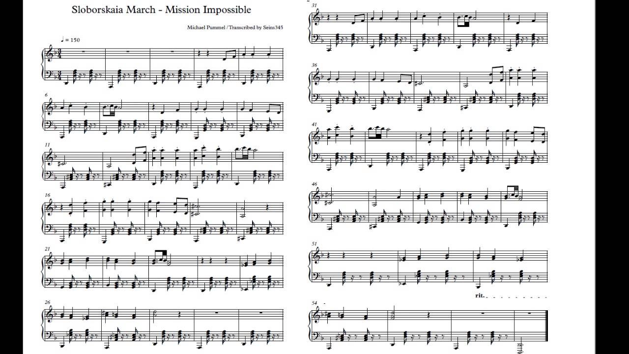 sloborskaia march mission impossible sheet music youtube. Black Bedroom Furniture Sets. Home Design Ideas
