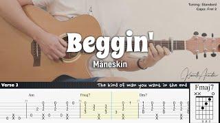 Beggin' - Måneskin | Fingerstyle Guitar | TAB + Chords + Lyrics