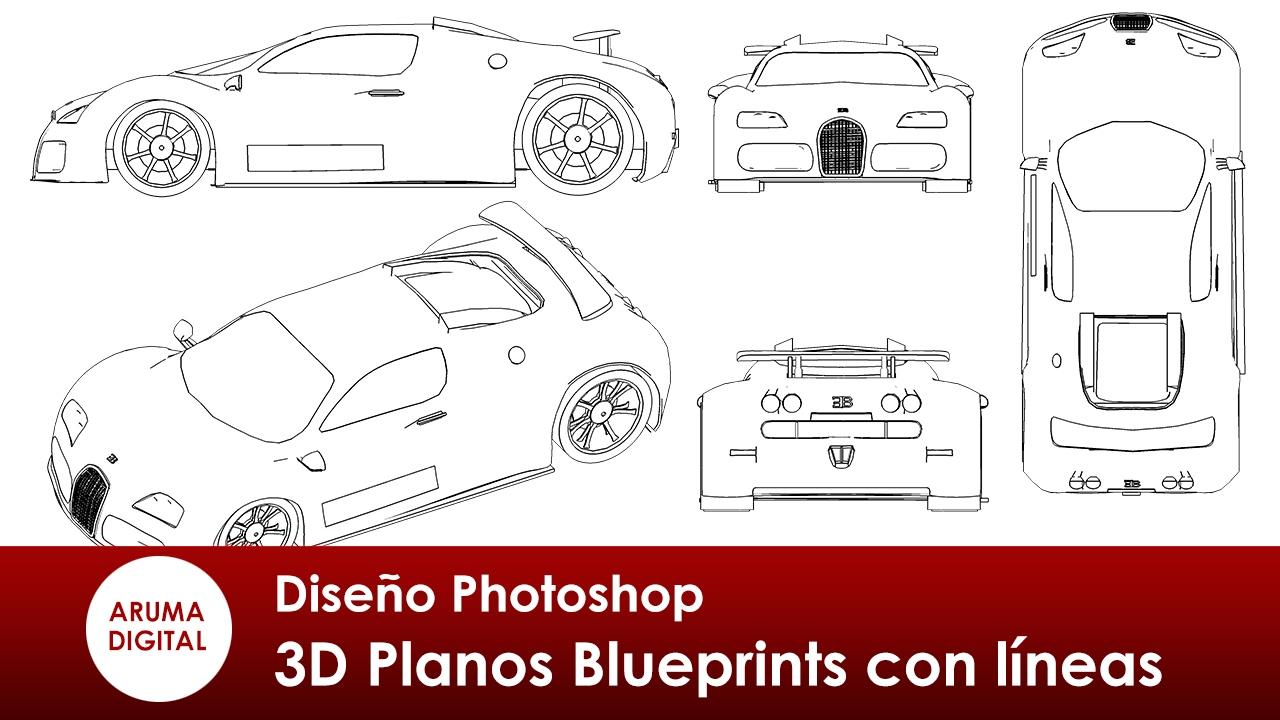 Photoshop 306 Planos Blueprints con representación de líneas - YouTube